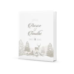 Livre d'or mariage personnalisé poésie d'hiver cerf nature enneigée