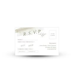 Papeterie mariage aquarelle Eucalyptus, carte réponse RSVP