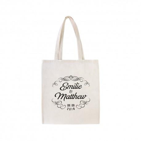 Tote bag personnalisé avec prénoms et date pour mariage vintage