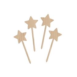 Lot de 4 étoiles bois 10 cm
