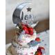 Gâteau d'anniversaire à étage avec cake topper plexiglas argent