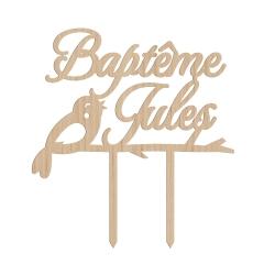 Cake topper baptême oiseau
