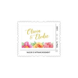 Timbre personnalisé faire-part mariage gipsy fleuri