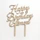 Cake topper personnalisé bois happy birthday prénom