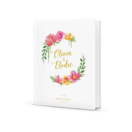 Livre d'or mariage original et tendance, fleurs à l'aquarelle