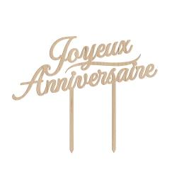 Cake topper joyeux anniversaire calligraphie