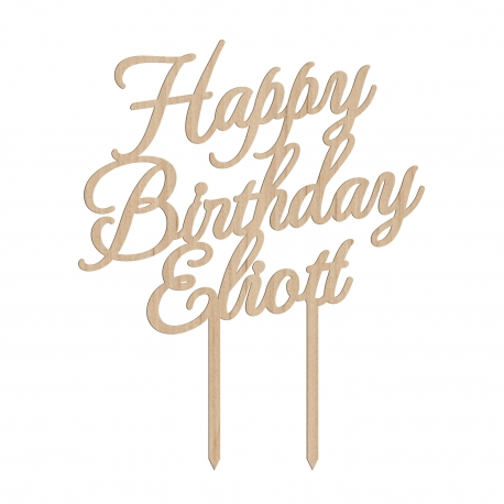 Cake topper personnalisé anniversaire calligraphie avec prénom