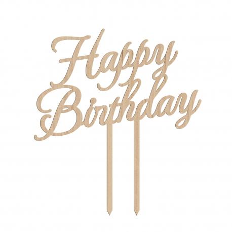 Cake topper anniversaire happy birthday calligraphie