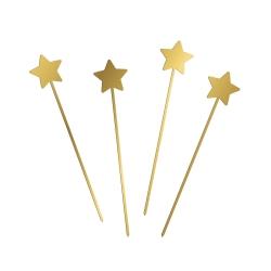 Décoration gâteau 4 pics étoiles plexiglas doré