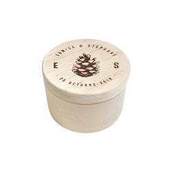 Boite à alliances ronde en bois personnalisée avec prénoms et date
