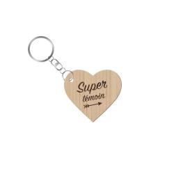 Porte-clé en bois personnalisé Super témoin mariage