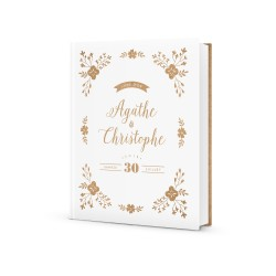 Livre d'or mariage à personnaliser, mariage fleurs et kraft