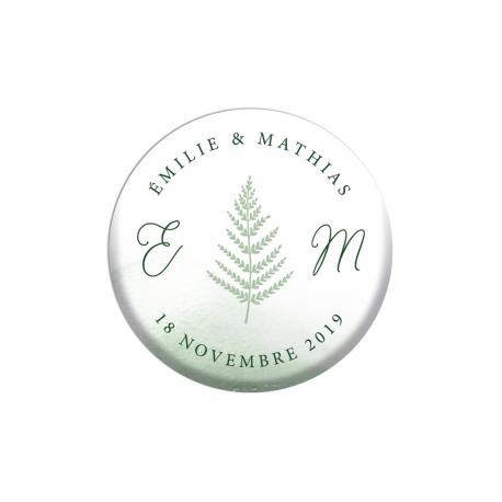 Cadeau d'invité mariage, magnet thème forêt fougère
