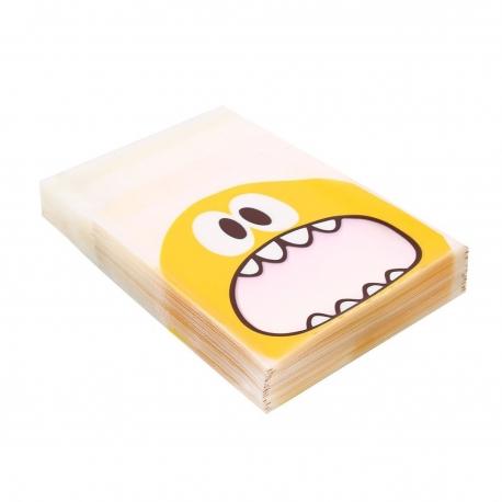 Sachet à confiserie transparent petit monstre jaune