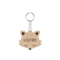 Porte-clé en bois personnalisé tête de renard
