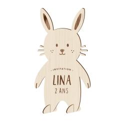 Invitation anniversaire en bois thème lapin