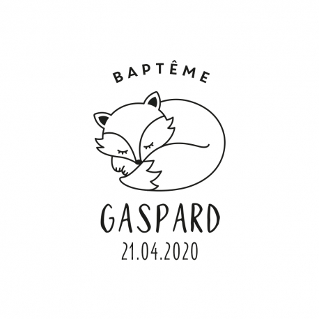 Tampon renard couché 2 baptême