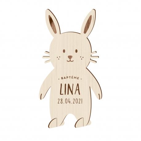 Faire-part baptême original modèle bunny en bois