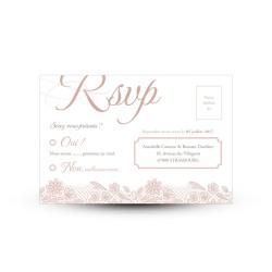 Carte réponse RSVP mariage Shabby Chic dentelle