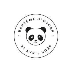 Tampon rond tête de panda baptême
