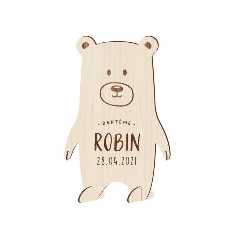 Faire-part baptême original modèle petit ours en bois