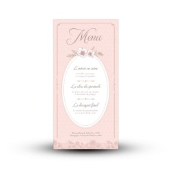 Menu mariage personnalisé couleurs rose vieilli et taupe