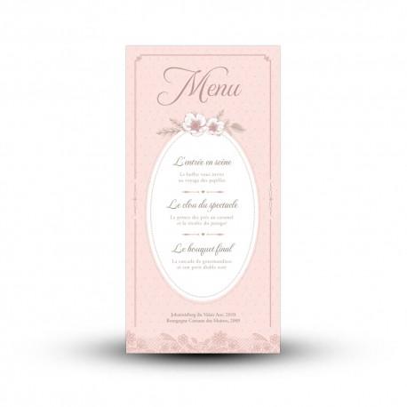 carte menu personnaliser mariage r tro chic papeterie shabby chic. Black Bedroom Furniture Sets. Home Design Ideas