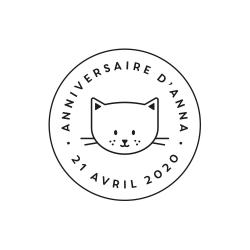 Tampon rond tête de chat anniversaire