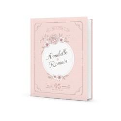 Livre d'or mariage personnalisé avec prénoms rétro chic