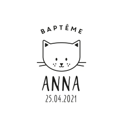 Tampon baptême tête de chat 2