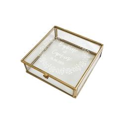 Boîte en verre carrée personnalisée baptême
