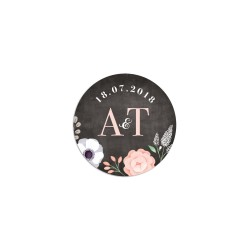 Sticker rond fond ardoise à personnaliser mariage fleurs