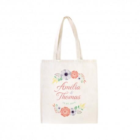 tote bag mariage personnalis sac en tissu avec pr noms et fleurs. Black Bedroom Furniture Sets. Home Design Ideas