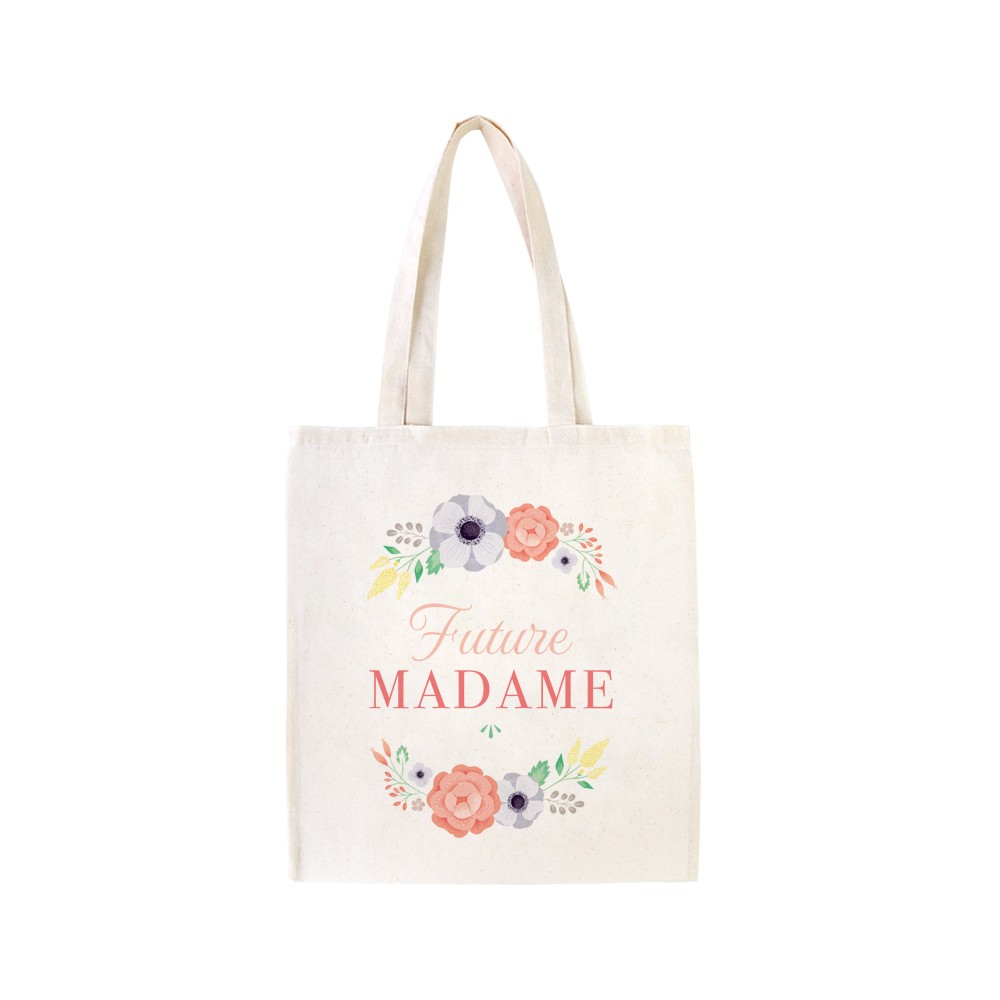 Exceptionnel Cadeau mariée EVJF : Tote bag Future Madame décoré de fleurs sauvages IC33