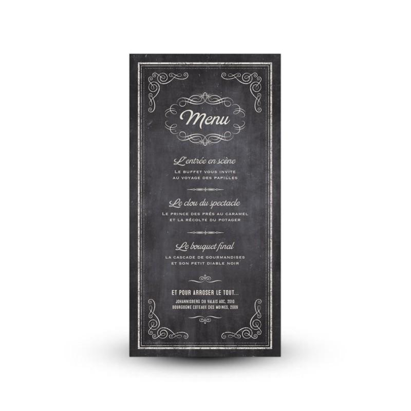 d corez vos tables de mariage avec une jolie carte de menu retro. Black Bedroom Furniture Sets. Home Design Ideas