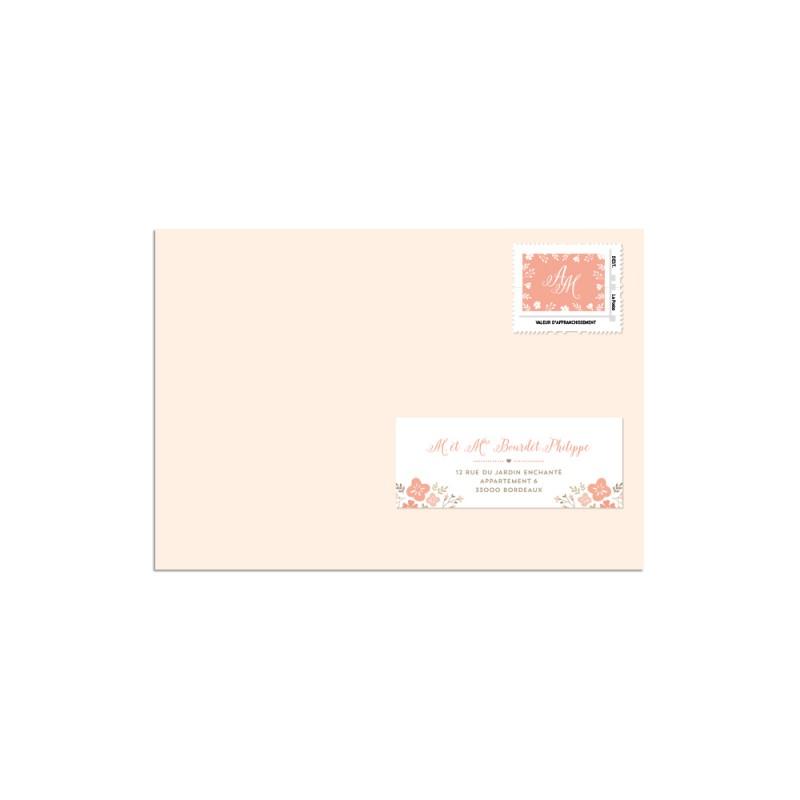 timbre mariage personnalis champtre invitation mariage fleuri - Timbres Personnaliss Mariage