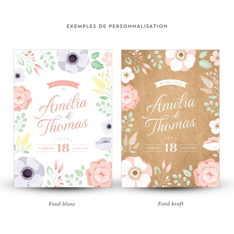 Bien-aimé Faire-part mariage personnalisé Ardoise Fleurie, la douceur des fleurs RV16