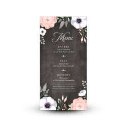 Carte menu mariage Ardoise Fleurie