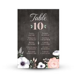 Plan de table personnalisé pour mariage champêtre et fleurs