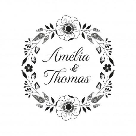 tampon mariage personnalisable jolie couronne de fleurs estivale. Black Bedroom Furniture Sets. Home Design Ideas