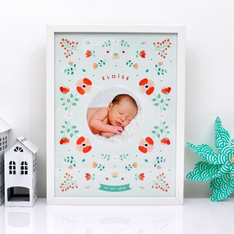 affiche de naissance scandinave personnalisee fleurs With affiche chambre bébé avec tasse fleurie