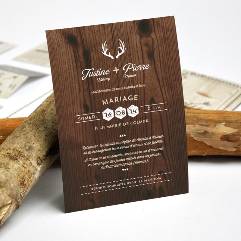 Faire part de mariage personnalisé champ u00eatre et rustique, imprimé bois # Faire Part En Bois
