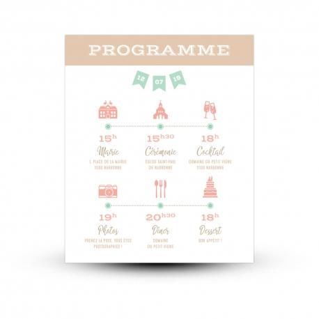 programme personnalis mariage avec pictogrammes mariage guinguette. Black Bedroom Furniture Sets. Home Design Ideas