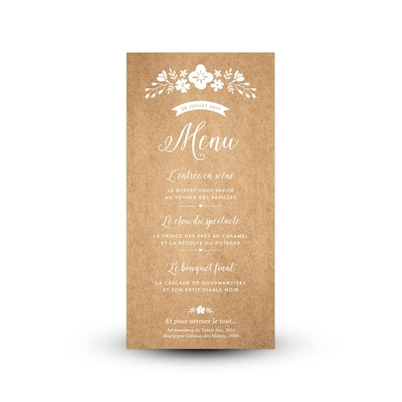 menu personnalis pour mariage champ tre et fleuri