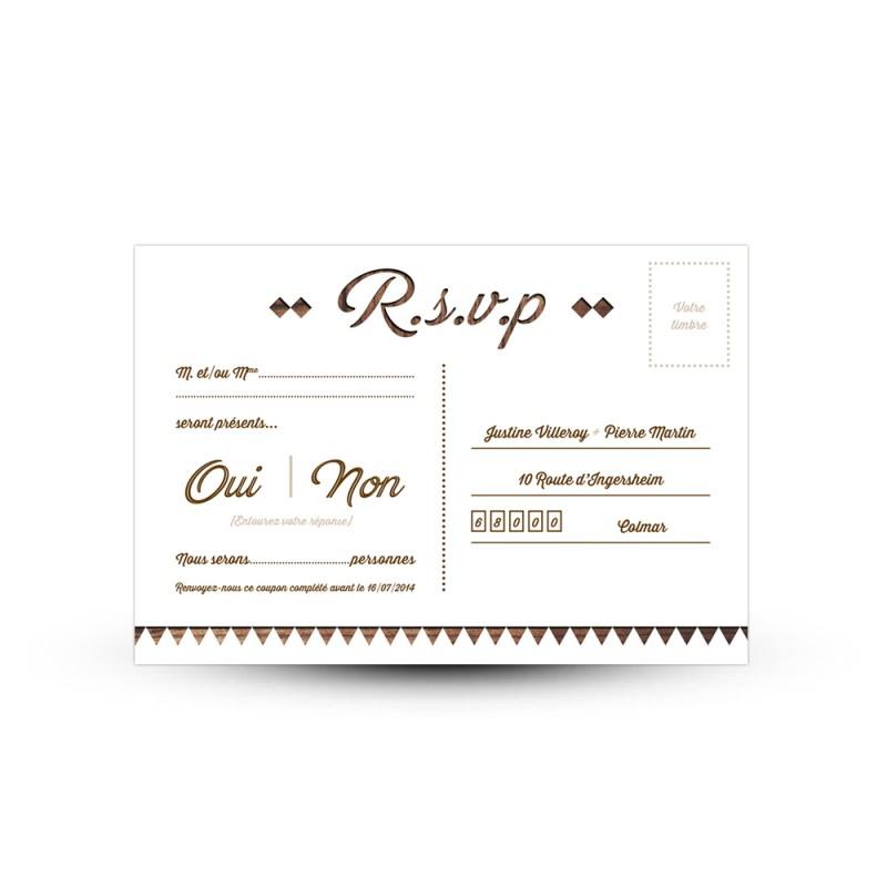carton r ponse rsvp personnaliser pour votre mariage rustique. Black Bedroom Furniture Sets. Home Design Ideas