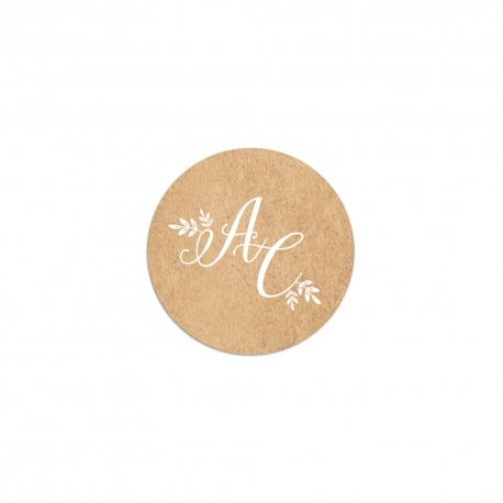 Stickers personnalisés mariage champêtre, fleuri et kraft