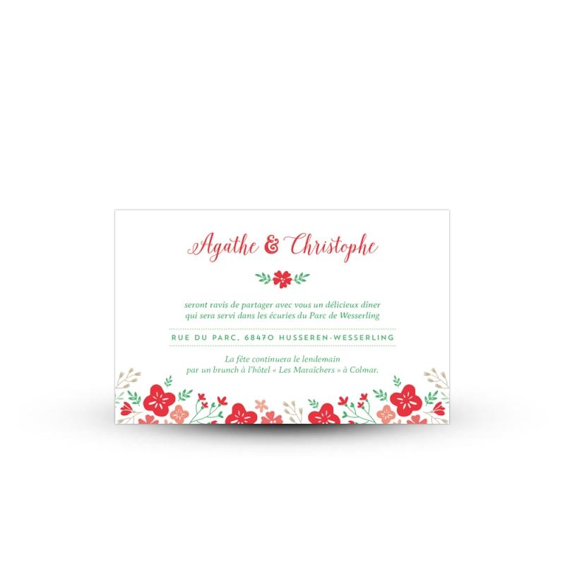 carton invitation repas pour votre mariage champ tre et fleuri. Black Bedroom Furniture Sets. Home Design Ideas