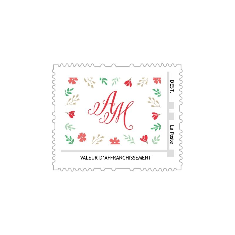 timbre poste personnalis avec initiales pour mariage champtre - Timbres Personnaliss Mariage