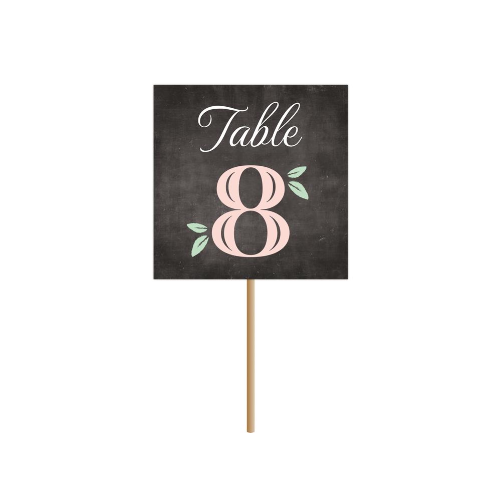 Numéro de table champêtre et vintage, collection Ardoise Fleurie