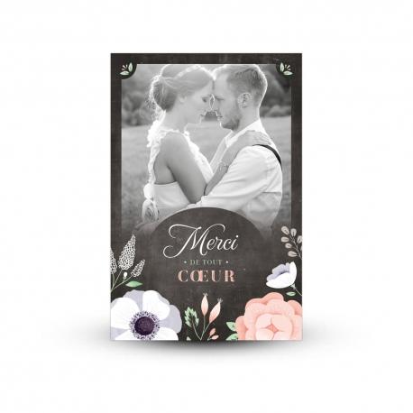 Carte de remerciement personnalisée ardoise et fleurs